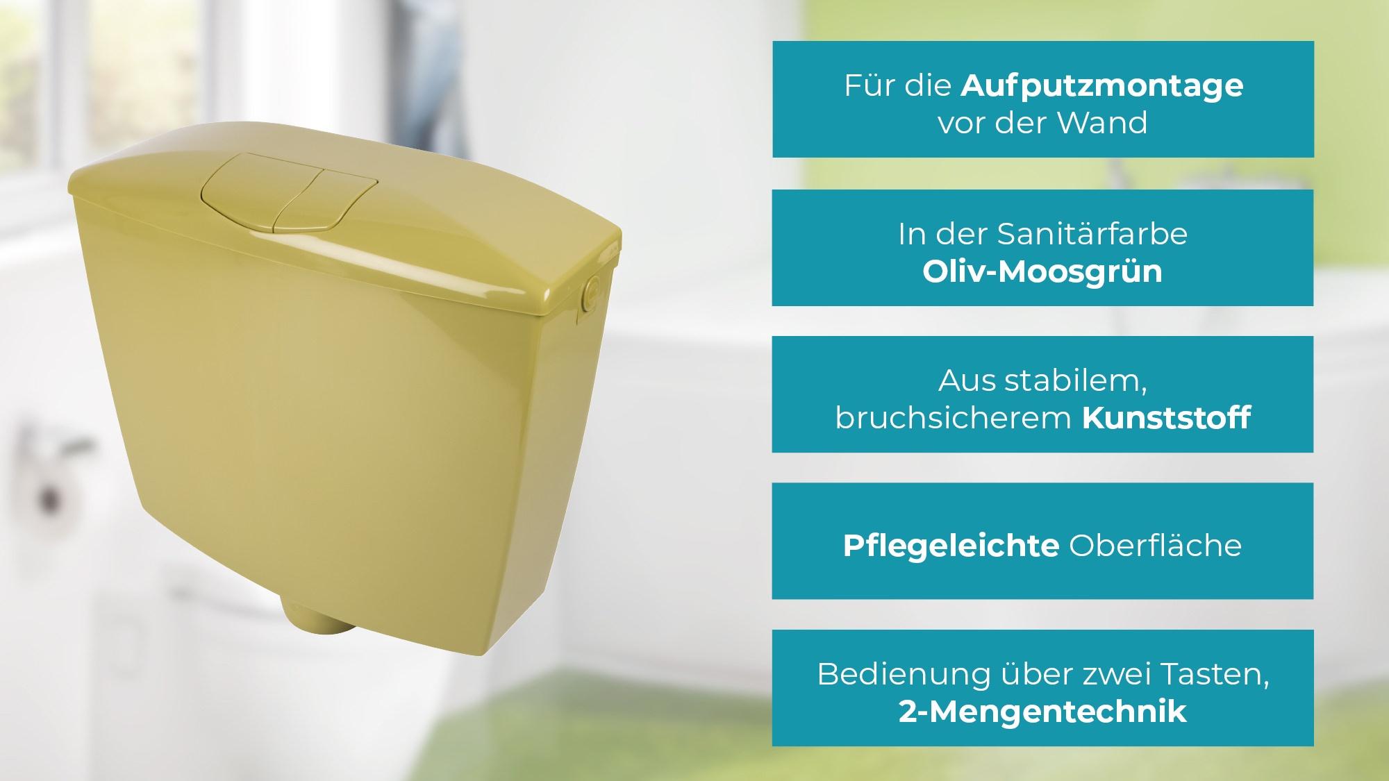 2 Mengen Sp/ültechnik Oliv // moosgr/ün 3,5 Liter oder 6-9 Liter Tiefsp/ülkasten Kunststoff Sp/ülkasten Karat